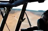 Cockpit View of C-130 Dirt Landing