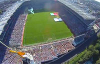 Parachute Jump into Packed Stadium
