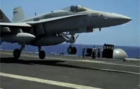 F-18 Nails Arrested Carrier Landing