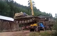 Crane Lifts Tank: What Could Go Wrong