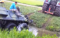 APC Stuck in the Mud, Tractor Rescues!
