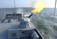 Oldest Russian Flotilla Fires Weapons