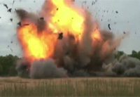 Simulated IED Attack On Humvee
