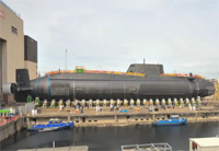 HMS Artful Enters Water for First Time