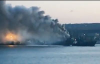 Russian anti-Submarine Ship Catches Fire