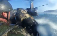 Special Ops in Zodiac Enter Chinook at High Speed