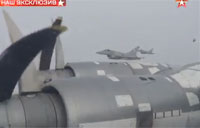 Russian Bomber Escorted by British, French Jets