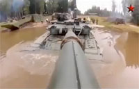 Russian T-90 Tank Goes Underwater