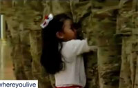 Young Girl Interrupts Ceremony to Hug Father