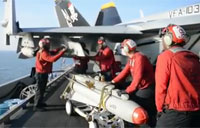 Ordnancemen Load Bombs onto F-18s