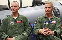 Twin Fighter Pilots Reunite During Combat Exercise