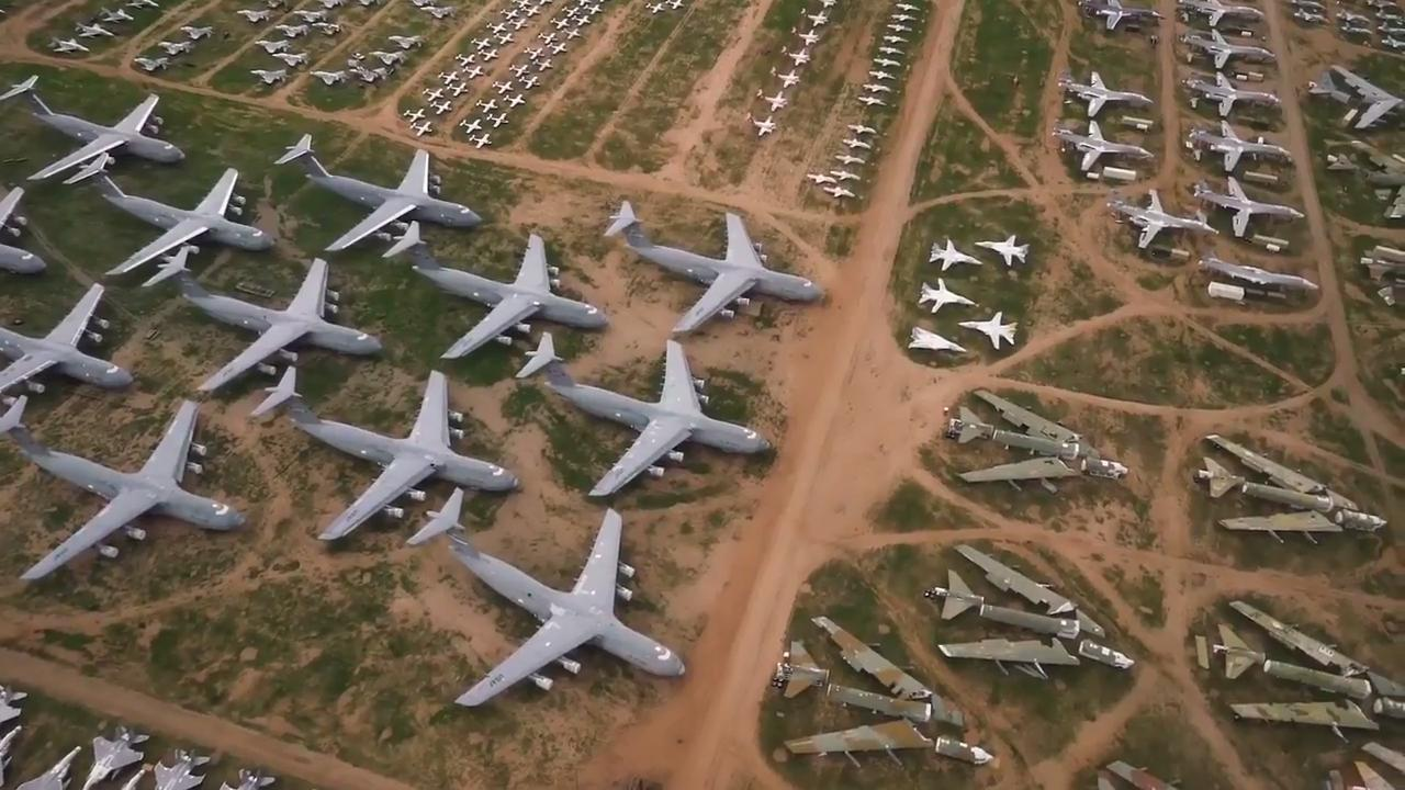 Aerial View of the Aircraft Boneyard at Davis-Monthan AFB ...