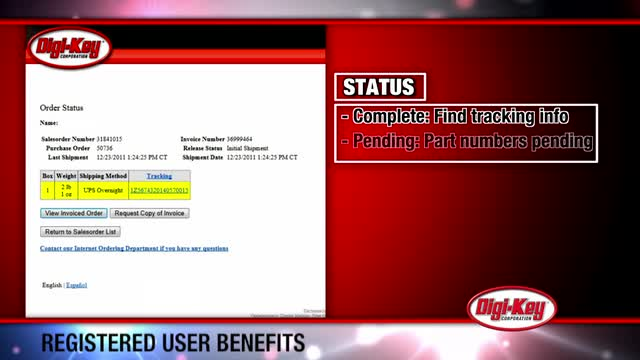 Benefits for registered users on digikey.com - ProcureMinute