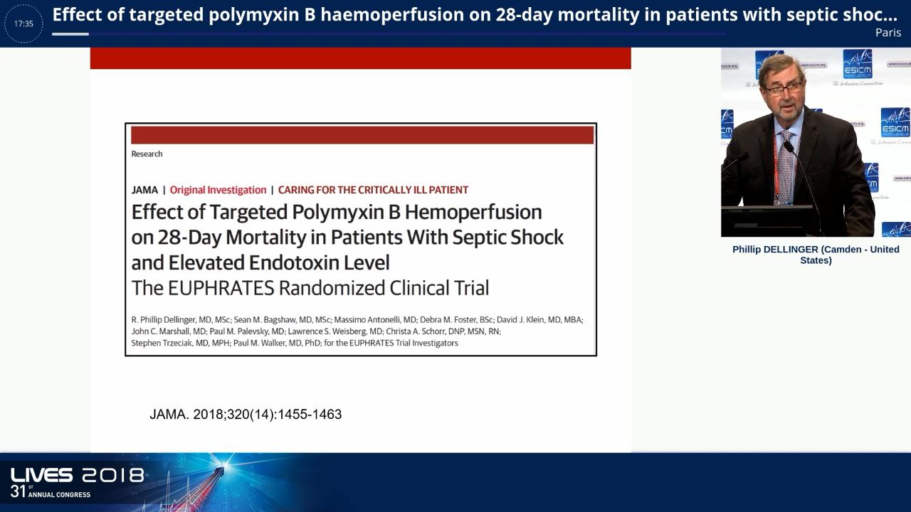 Effect of Targeted Polymyxin B Hemoperfusion on 28-Day